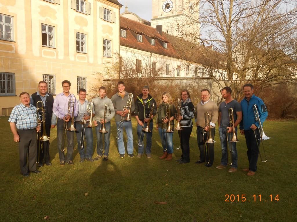 Teilnehmer des Posaunenseminar mit Dozent Hansjörg Profanter, Bezirksdirigent Bernd Schuster und stelvtr. Bezirksdirigent Thomas Schmid.